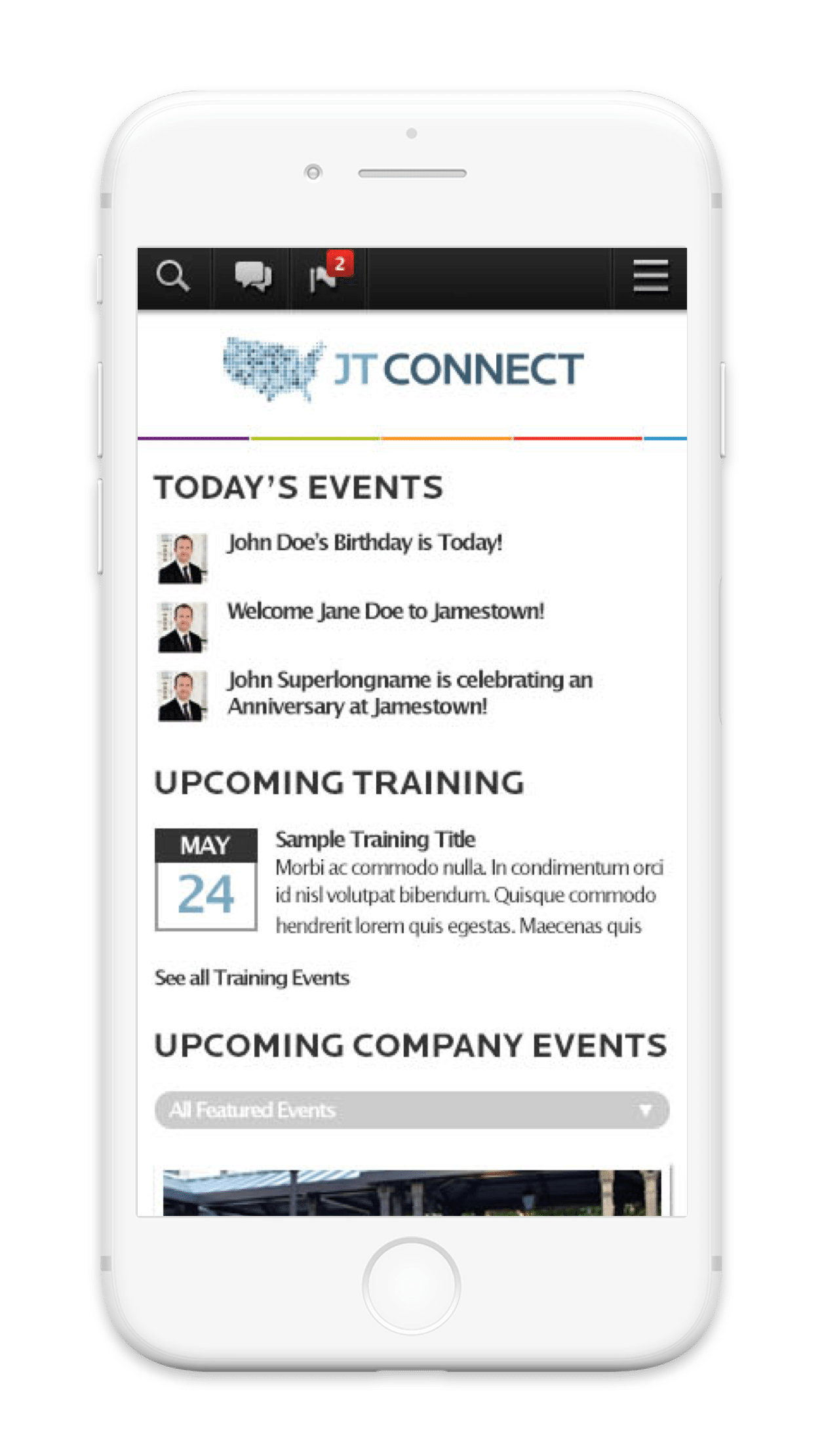 Jamestown Employee Communication Platform Mobile App